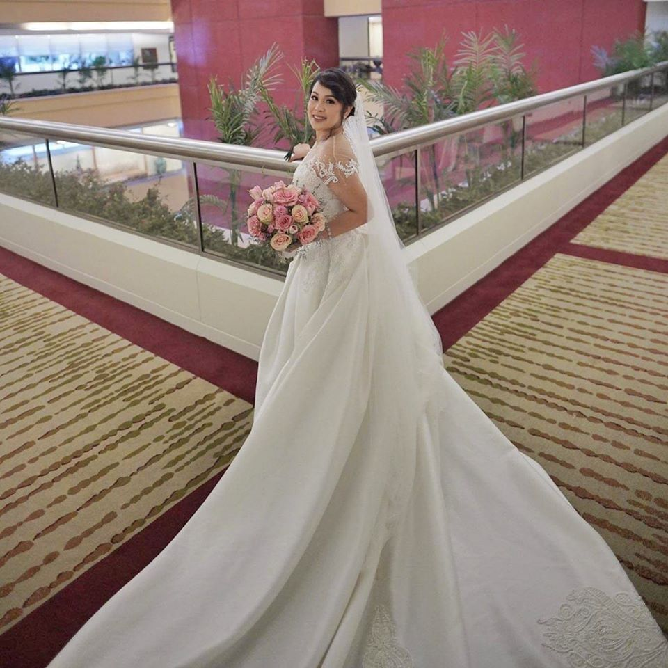 Bride Therese wearing Zandra's Gown